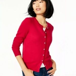 Charter Club Luxury Cashmere ruby &crystal sweater